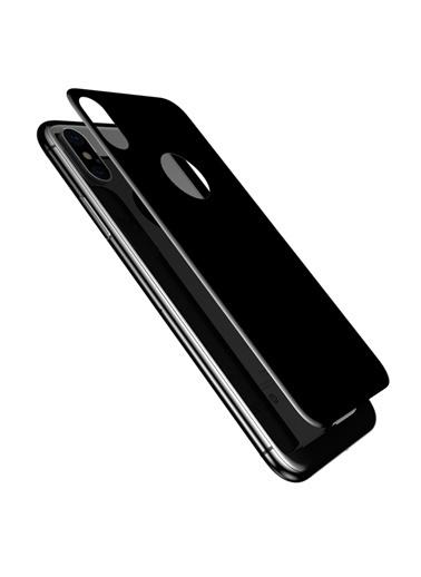 Microsonic iPhone X Tam Kaplayan Arka Temperli Cam Ekran Koruyucu Kırılmaz Film  Siyah